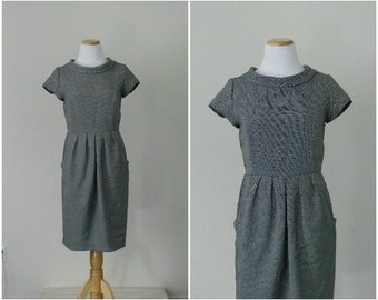 FREE usa SHIPPING vintage 1990's fashion chic elegant pleated modern dress short sleeves cocktail  dress MOD dressy size 6