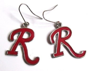 10% OFF Red Initial Alphabet earrings. Glazed and silver plated surround.