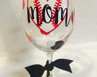 Baseball Mom wine glass, softball mom wine glass, baseball, softball, baseball gift