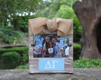 Delta Gamma Whitewashed Rustic Frame With Greek Letters