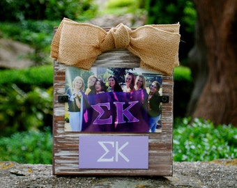 Sigma Kappa Whitewashed Rustic Frame With Greek Letters