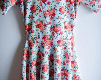 Pretty peplum mini, mini dress, peplum, floral mini dress, floral peplum, mother's day, peplum dress, leggings dress, ethical fashion