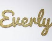 Wooden Name Sign- Glittered Gold Nursery Name - Nursery Decor - Wood Name Cut Out - Gold Glitter Wooden Names for Nursery - Wall Art Decor