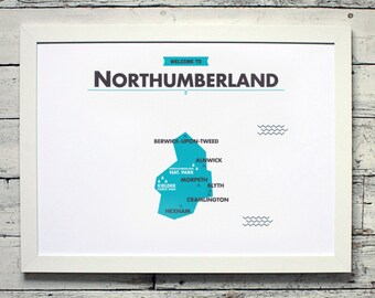 Northumberland County Map | # poster, vintage, retro, print