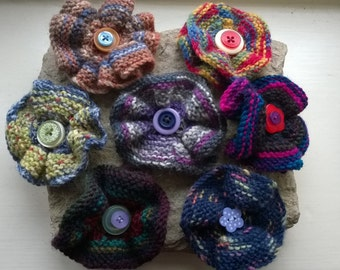 Hand knitted flower brooch