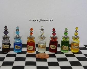 Dollhouse Miniature RPG Magic Fantasy Gaming Larping Health Mana etc Potion Bottles in 1:12 scale