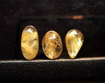 3 Pieces Lots Golden Rutilated Quartz cabochon Mix Shape / Rutilated Quartz / Rutile Caochon / Yellow Rutile gemstone 7 To 14 mm