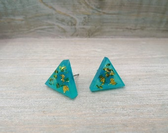 Triangle stud earrings, Teal and gold studs, Stainless steel posts, Geometric studs,