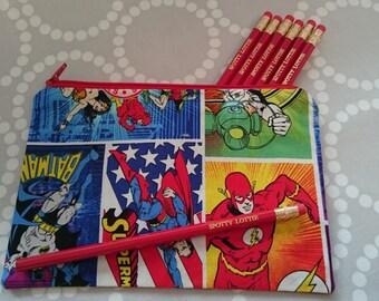 Superhero Pencil Case using Batman / Superman / Wonder Woman / Flash Fabric. Fully Lined!