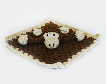 Monkey Lovey - Crochet Monkey Blanket - Crochet Monkey Lovey - Monkey Baby Blanket - Baby Gift