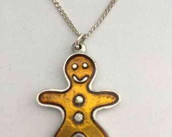 Gingerbread Man Necklace in English Pewter, Handmade, Gift Boxed, Cookie (h-24)