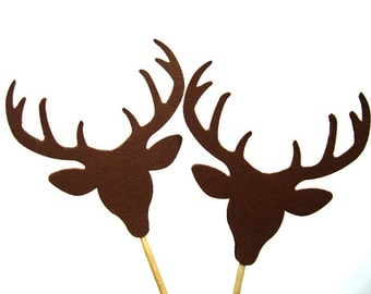 Set of 24Pcs - Double Sided Deer Head Party Picks, Cupcake Toppers, Toothpicks, Food Picks