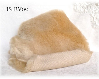 Italian SYNTHETIC fur plush fabric IS-BV02 Beige soft dense pile 15 mm 1/8 m teddy bear making supplies