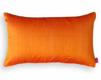 """Silk pillow, burnt orange color,  lumbar pillowcover, size 12""""X20"""""""
