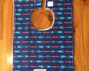 Handmade baby feeding bib boys blue arrow fabric