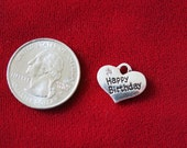 """BULK! 15pc """"Happy birthday"""" charms in antique silver style (BC700B)"""