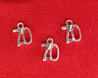 "10pc ""number 70"" charms in silver style (BC1077)"