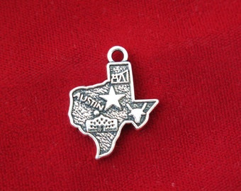 "BULK! 15pc ""Texas"" charms in silver plated (BC815B)"