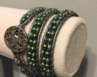 Handmade Chan Luu inspired Triple Wrap Beaded Bracelet in green and silver