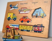 Vintage Fisher Price wooden puzzle of vehicles