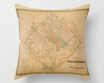 Civil War Washington DC map Pillow - antique map of Washington DC Throw pillow , unique, aged look