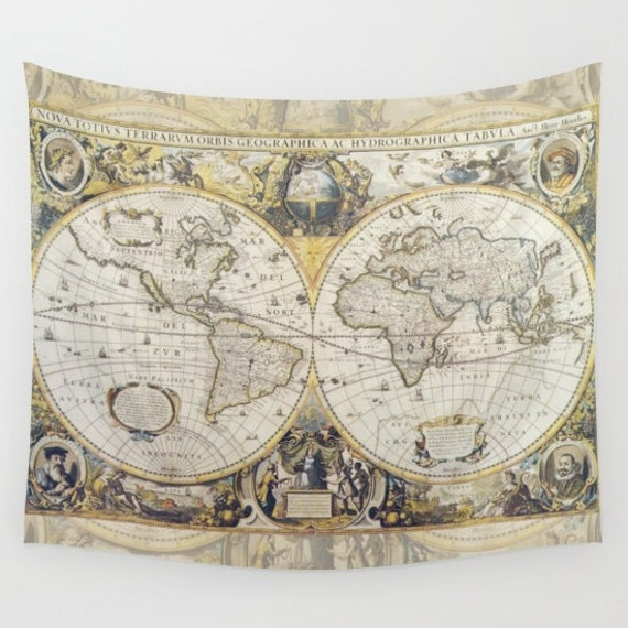 World map tapestry wall hanging antique map print beautiful like this item gumiabroncs Gallery