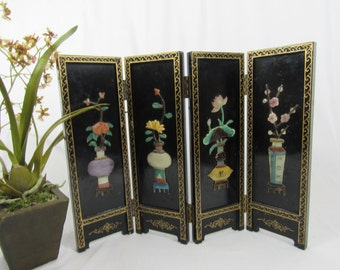 Vintage Asian Screen Double Sided Four Panel Privacy Screen Mid Century Laquered Fold Up Screen