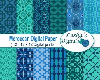 MOROCCAN Digital Scrapbook Paper - BLUE GREEN Moroccan, Middle Eastern, Islamic Patterns - Moroccan Patterned Paper - Geometric