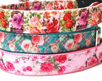 Dog Collar - 1 inch wide - Roses Adjustable Dog Collar, Dog Leash, Collar and Leash Set, Floral dog Leash, Female Collar, Pink and Teal