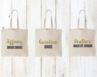 Bridesmaid gifts, bachelorette party gift, bridal party gifts, bridesmaid tote, bride tote, maid of honor tote, tote bags