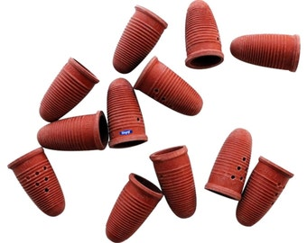 Molded Rubber Finger Cots Small 12 Pcs Natural Red Tips Hand Safety Protection Wa 600-027-1