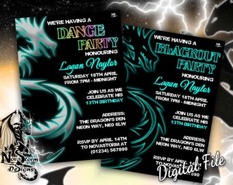 dragon blackout dance party invitations uv glow blacklight party invites self print - Black Light Party Invitations