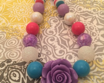Purple Flower Bubblegum Bead Necklace