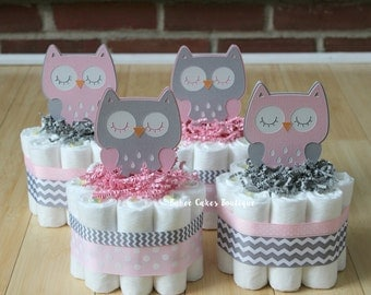 set of 4 pink and gray owl mini diaper cakes girls owl baby shower