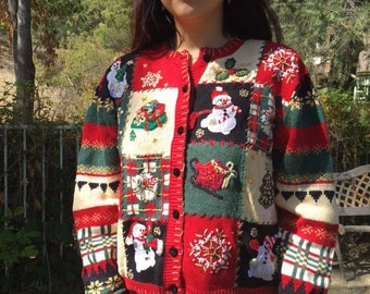Ugly Christmas sweater, red cardigan sweater, beaded embroidered sweater ,size PL