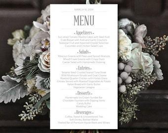 "Printable Wedding Menu Card Template Silver Gray Menu Card Wedding Reception Menu ""Modern Typography"" Menu Printable - DIY Menu Template"