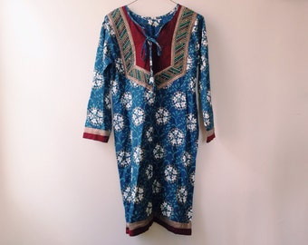 60 Style Vintage Ethnic Embroidered Kurti Tunic ~