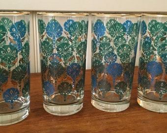 Libbey Tall Drink Glasses with Gold Trim, Blue and Green Pattern, qty. 4