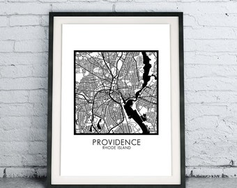 Providence RI Printable City Map Download DIY, Modern Minimalist Scandinavian Design, City Map Chic Living Room Decor, B&W Rhode Island