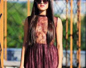 Dark red, violet lace dress