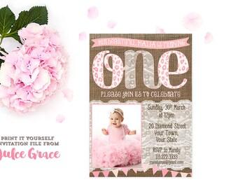 photo 1st birthday invitations, shabby 1st birthday invitation, girl 1st birthday party, cheetah print birthday invites, PERSONALIZED INVITE
