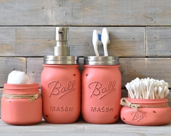 Coral Mason Jar Bathroom Set - Mason Jar Bathroom Set - Mason Jar Soap Dispenser - Mason Jar Tooth Brush Holder - Mason Jar Q-Tip Holder