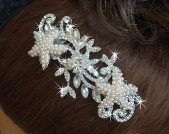Beach Wedding Comb with Pearl Starfish, Rhinestone Wedding Hair Comb, Bridal Haircombs, Destination Wedding Bling Hair Comb with Pearls