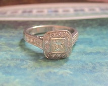 1.00 tcw Princess Cut Halo Diamond Engagement Wedding Ring 18kt White Gold VS G Color Promise Ring Bridal Jewelry