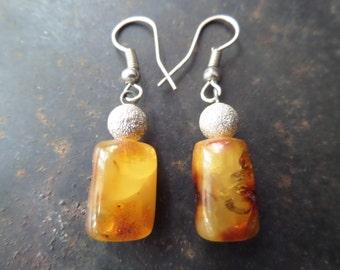 Genuine Amber Earrings,Cognac Amber Earrings,Natural Amber Earrings,Baltic Amber Earrings,Elegant Amber Earrings,Cabochon Amber Earrings