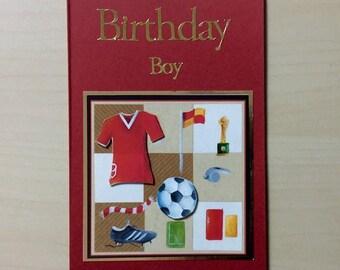 Birthday Boy Card * Football Card * Handmade Card * Football Birthday Card * Son Birthday Card * Boys Birthday Card * Football Player * Red