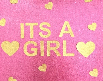 Its a Girl Gold Glitter Baby Shower Bunting Garland Sign (other colours available too)