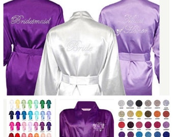 Set of 4 Bridesmaid Robes Bride, Maid of Honor, Mother of Groom, Mother of Bride, Plus Sizes, Satin Bridesmaid robes, Bridesmaid gifts