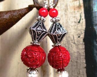 Carved Cinnabar and Freshwater Pearl Oriental Style Handmade Earrings