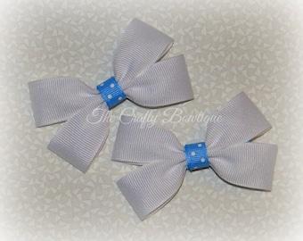 Blue & White Bow ~ White Hair Bow ~ Blue Polka Dot Bow ~ Small White Bow ~ White Clippies ~ White Pigtails ~ Blue Hair Bow ~ Polka Dot